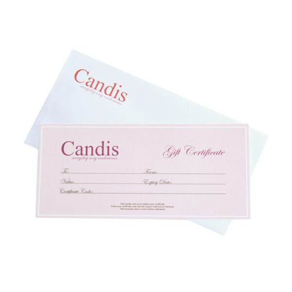 A physical Candis Gift Certificate for Underwear