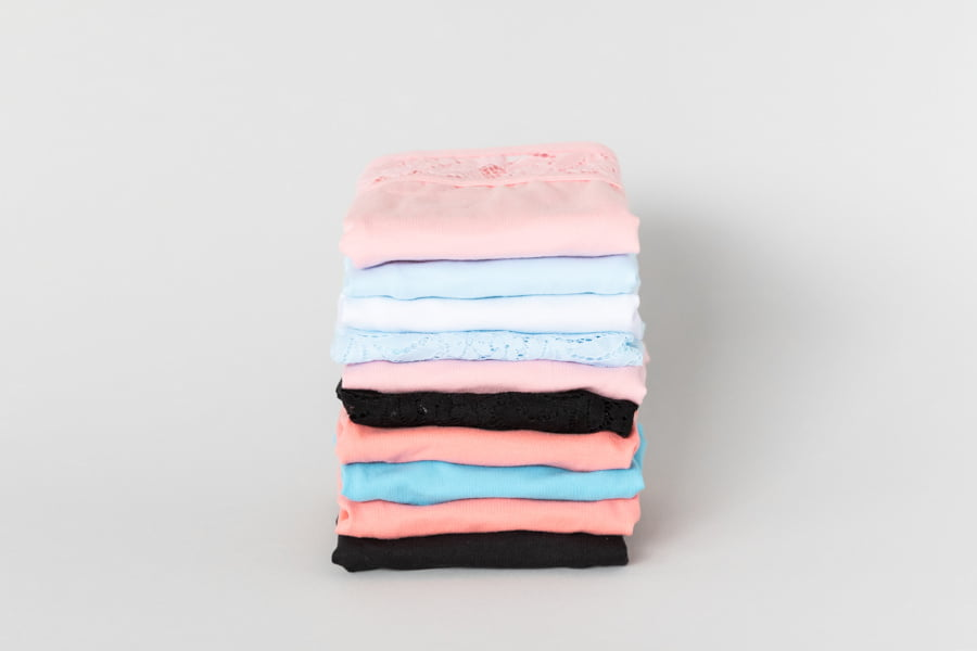 Candis cotton underewear folded in a pile