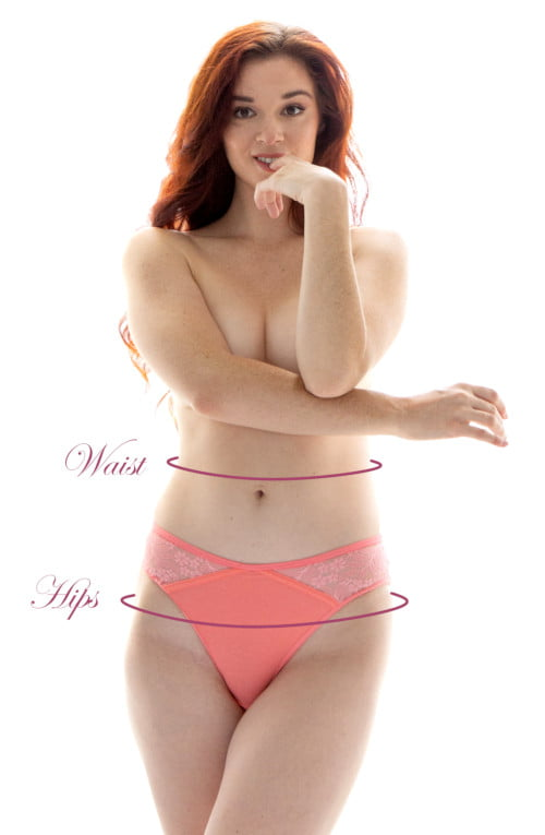 A Candis Girl displays the areas to measure for Candis Underwear and Lingerie